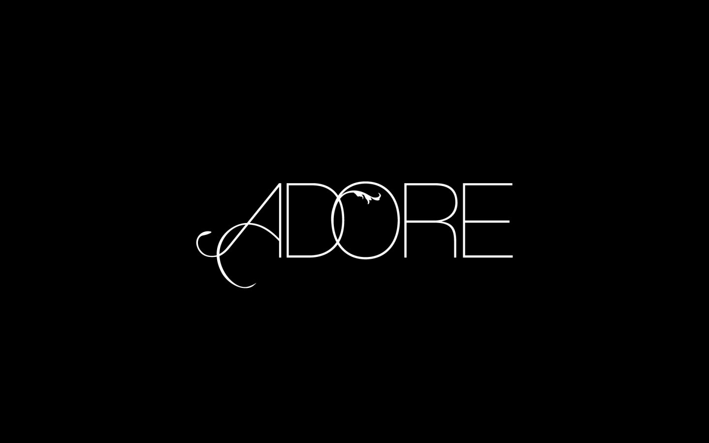 Adore Boutique Cleethorpes, Logo Design Mono Reversed