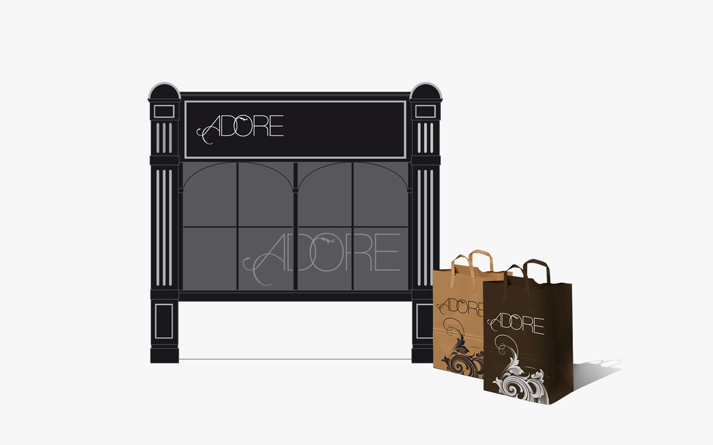 Adore Boutique Cleethorpes, Logo Design in Signage and Bag Design