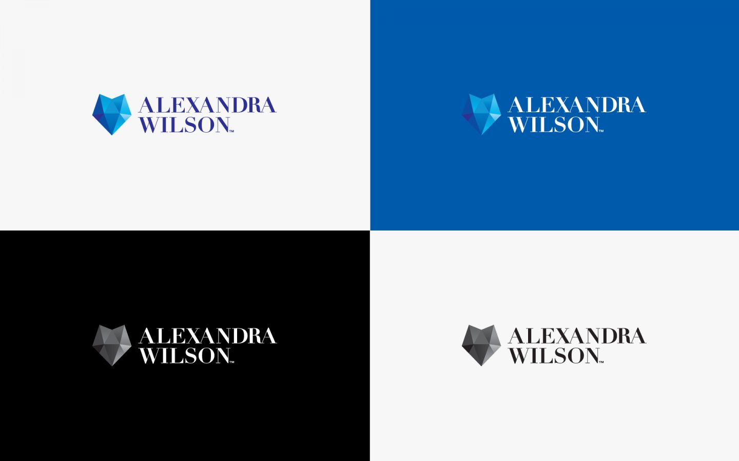 Alex Wilson Logo Design, in Brand Colours and Black and White