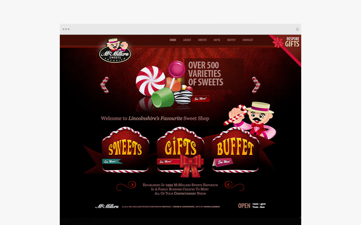 McMillers Sweets Emporium Logo Design on Website