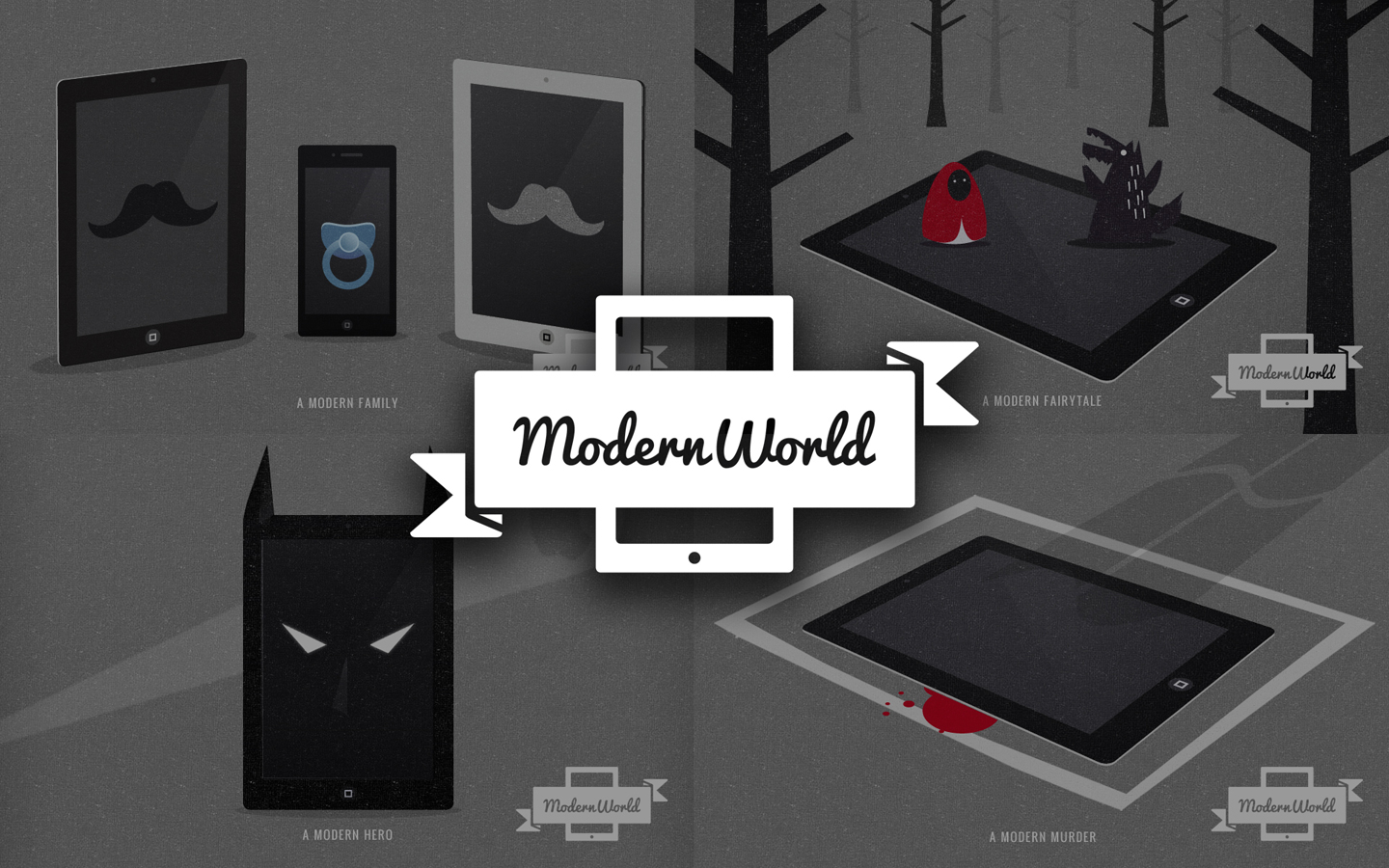 Modern World Illustrations, Logo Design in Mono over Image