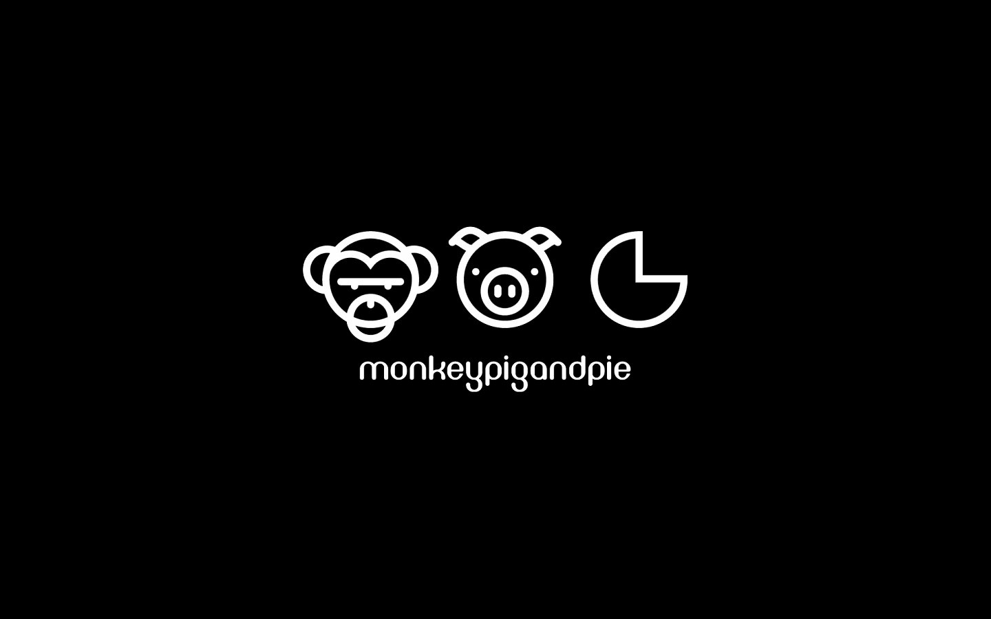 Monkey Pig and Pie, Logo Design Mono Reversed on Black
