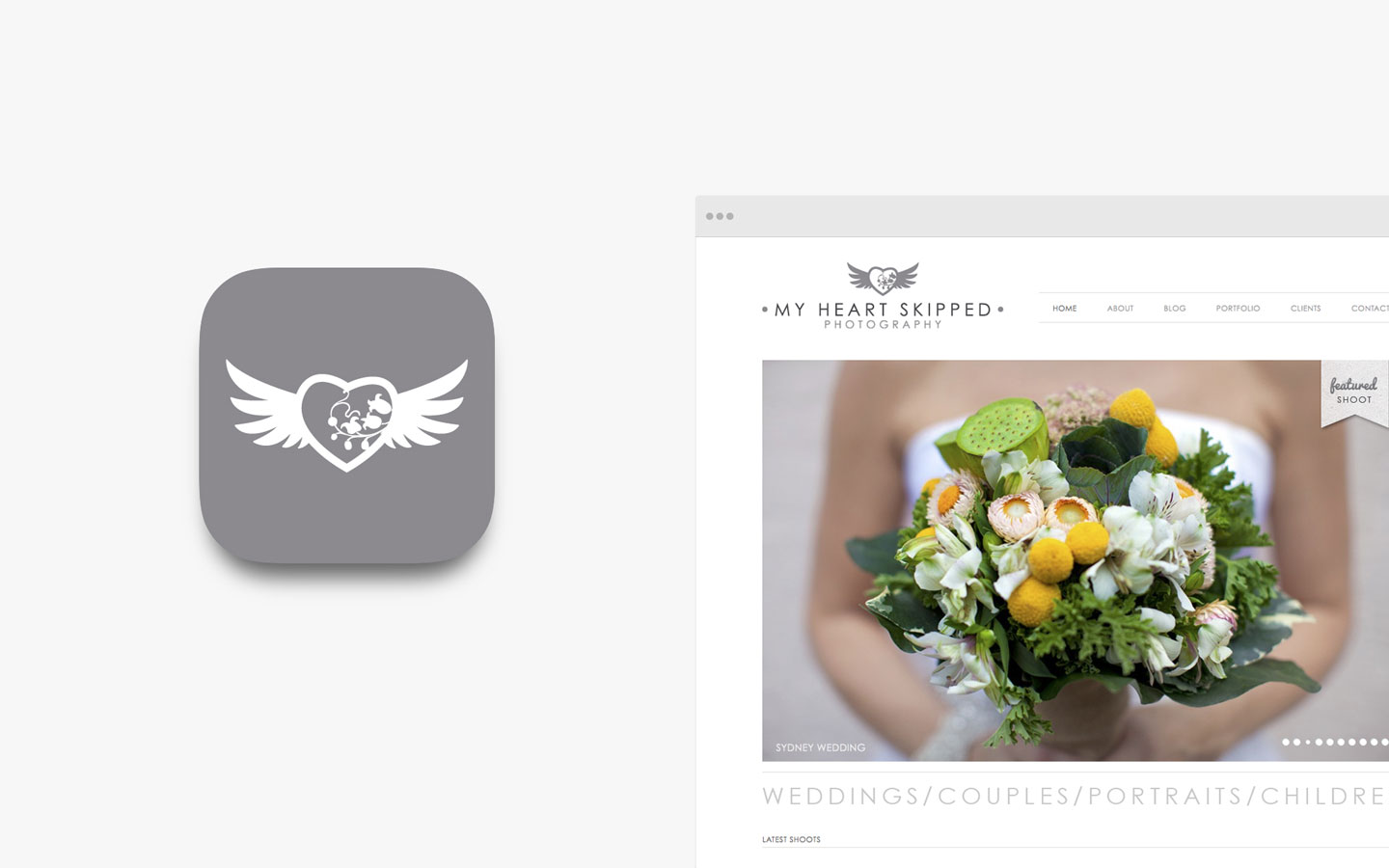 My Heart Skipped Logo Design in IOS Icon and Website