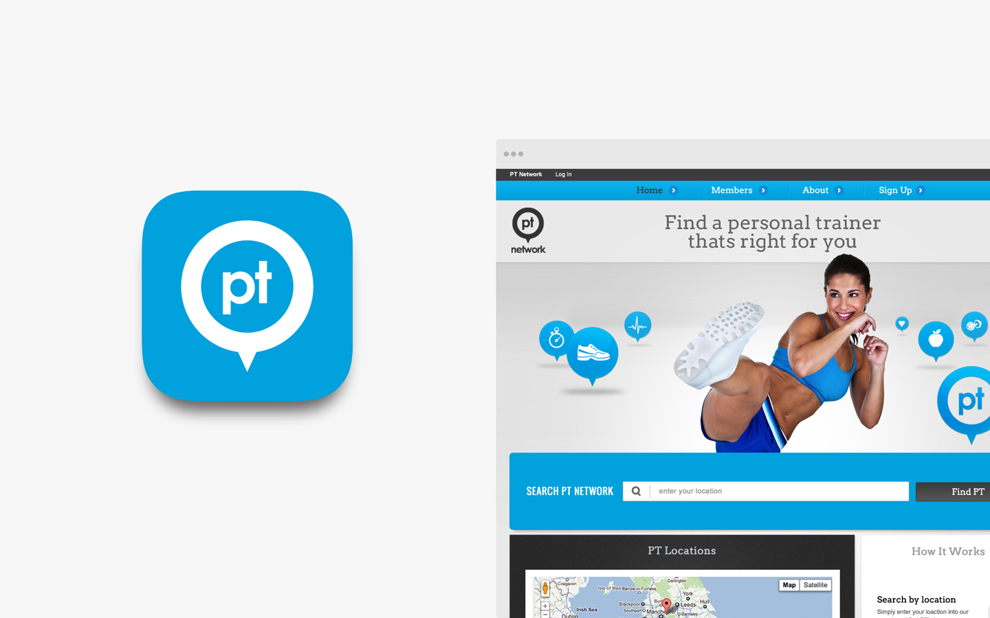 PT Network Logo Design in IOS Icon and Website