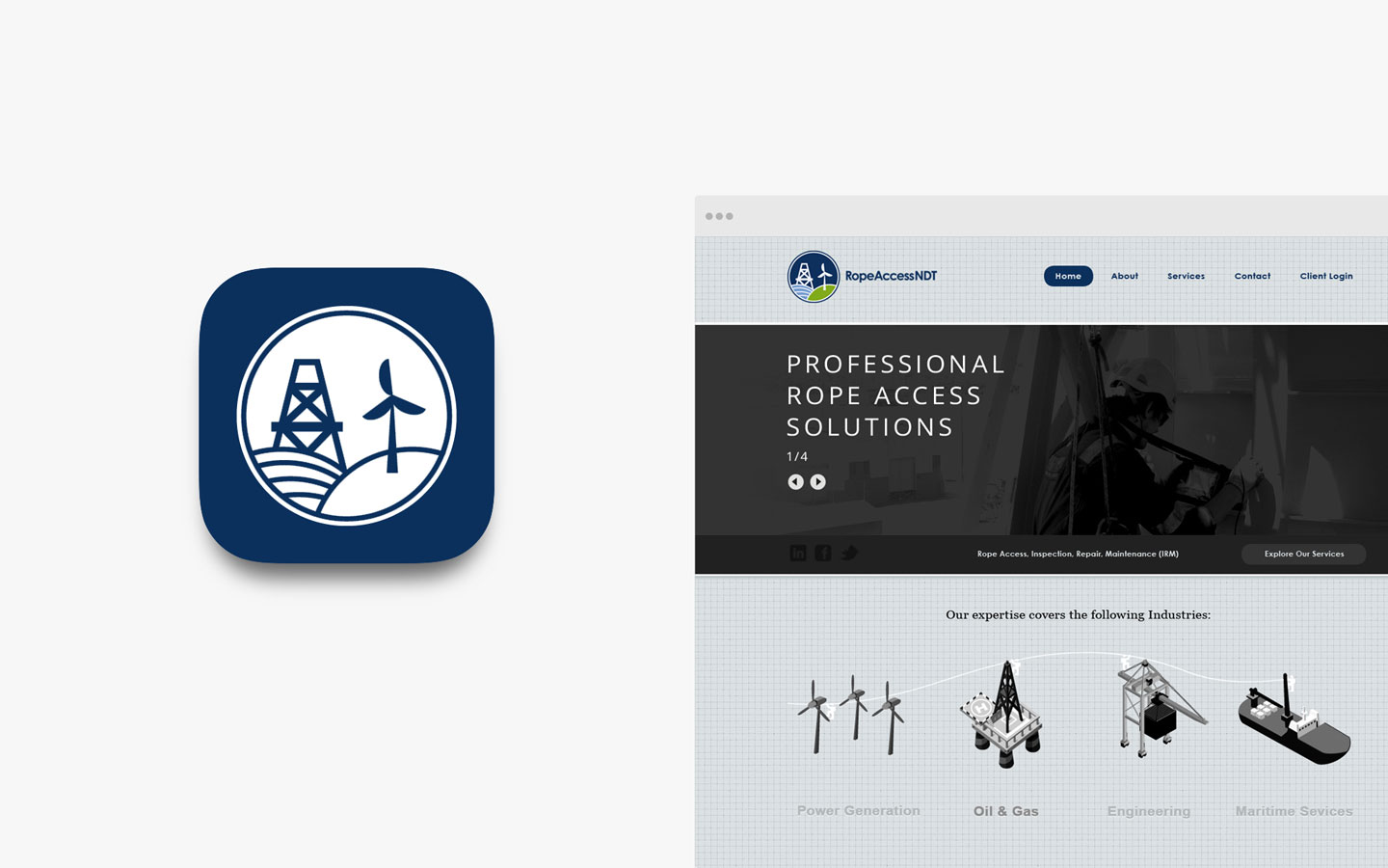 Rope Access NDT, Logo Design in IOS Icon and Website