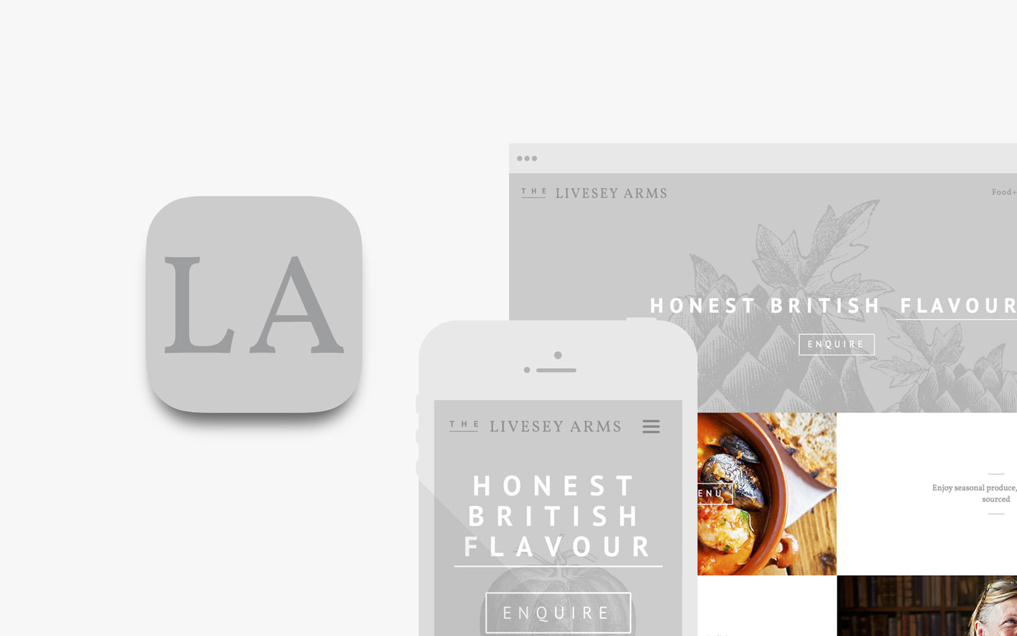 The Livesey Arms, Logo Design in IOS Icon and Responsive Website